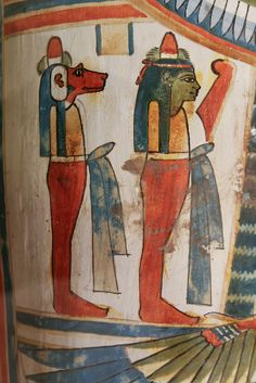 Hapy and Imsety, the sons of Horus, on the right torso.   Cartonnage case and mummy of Meresamun. Third Intermediate Period, Dynasty 22, ca. 946-735 BCE. OIM 10797.  Oriental Institute, Chicago.
