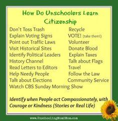 How Do Unschoolers Learn Citizenship? Homeschool Kindergarten, Homeschool Curriculum, School Fun, High School, School Sports, School Tips, Middle School, Read Letters, Alternative Education