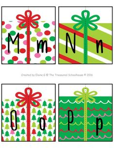 Christmas Gift Alphabet Matching Cards {FREEbie} from The Treasured Schoolhouse Christmas Alphabet, Christmas Math, Preschool Christmas, Christmas Activities, Christmas Themes, Christmas Crafts, Preschool Gifts, Theme Noel, Abcs