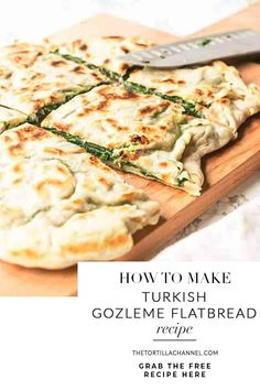 Looking for a tasty lunch or dinner? Try this gozleme with spinach and feta recipe. This Turkish flatbread is unleavened so done in no time and so tasty! Easy Healthy Recipes, Lunch Recipes, Vegetarian Recipes, Easy Meals, Cooking Recipes, Dinner Recipes, Turkish Recipes, Romanian Recipes, Scottish Recipes