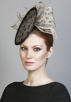 d22d3f8d1cc   Fascinator Collection    Rachel Trevor Morgan spring summer 2016 black  and natural spot straw mini disc with straw loops