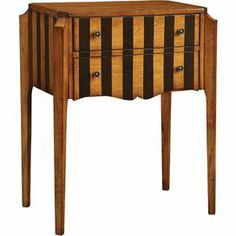 "2-drawer wood console table with striped fronts and side paneling.      Product: Console table    Construction Material: Wood    Color: Pecan   Features:  Charming vintage trunk silhouette    Two drawers    Dimensions: 32"" H x 26"" W x 17"" D"