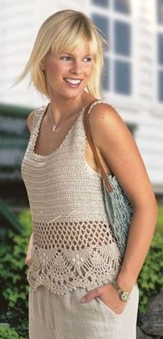 Crochet Top - Free Crochet Diagram - with just a plain DC bodice (I may try dc, DC ch 1 DC), chain mesh and then this cool openwork for the skirting. Débardeurs Au Crochet, Pull Crochet, Gilet Crochet, Mode Crochet, Crochet Amigurumi, Crochet Tunic, Crochet Diagram, Crochet Woman, Irish Crochet