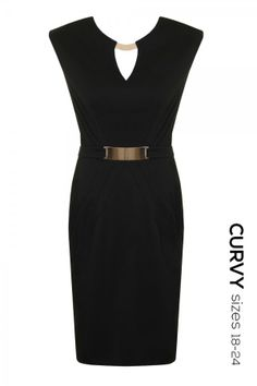 Black Pencil Dress with Metal Detail Big Girl Fashion, Fashion Line, Women's Fashion, Plus Size Skirts, Plus Size Outfits, Plus Size Evening Gown, Black Pencil Dress, Pretty Dresses, Plus Size Fashion
