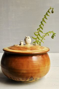 Mama and Baby Owl ceramic keepsake box- perfect for Mothers Day
