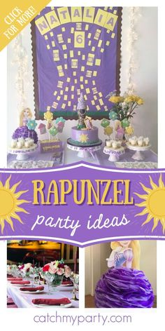 Take a look at this pretty Rapunzel-themed princess birthday party! The cake will blow you away! See more party ideas and share yours at CatchMyParty.com #catchmyparty #partyideas #rapunzel #rapunzelparty #tangled #princessparty Rapunzel Birthday Party, Princess Theme Party, Girls Birthday Party Themes, Tangled Party, Birthday Activities, Princess Birthday, Birthday Parties, Rapunzel Cake, Disney Parties