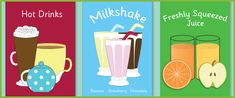 Cafe Role-Play: Beverage Posters...A set of decorative beverage posters ideal to use in cafe / restaurant role play scenarios in your school or early years setting. Features a milkshake poster, a hot drinks poster and a juice poster.