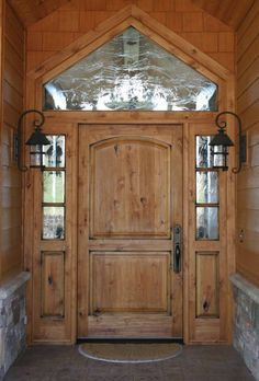 Exterior. Elegant Arts And Crafts Entry Door Style With Sidelites And Transom Design And Antique Outdoor Wall Sconces Ideas. Creative And De...