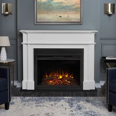 online shopping for Real Flame Harlan Grand Electric Fireplace White, Large, from top store. See new offer for Real Flame Harlan Grand Electric Fireplace White, Large, Electric Fireplace With Mantel, Electric Fireplace Reviews, Home Fireplace, Faux Fireplace, Fireplace Inserts, Living Room With Fireplace, Fireplace Surrounds, Fireplace Design, Decorative Fireplace