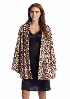 N Natori  Animal Cashmere Fleece Poncho
