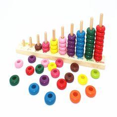아기 무지개 파란색 블록 클래식 Mathematic 나무 장난감 색상 학습 조기 교육 장난감 선물 아이 & 아기 WD177