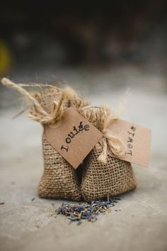 lavender wedding favours in burlap sacks | onefabday.com  For more insipiration visit us at https://facebook.com/theweddingcompanyni or http://www.theweddingcompany.ie