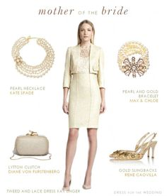 This look is a pale yellow suit for the mother of the bride. This yellow lace and tweed dress and jacket is perfect for a daytime wedding, and for a mother who prefers the suited look.