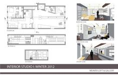 Plan, elevations and perspectives  Interior Design Portfolio by Stephanie Heucke, via Behance