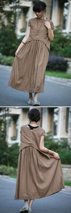 tan colour long linen sundressmore colour and size by thesimpson, $58.00