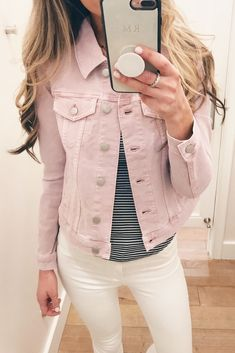 In The Style Jean Jacket Outfits Pink Denim Jacket, Jean Jacket Outfits, Pink Jeans, Denim Outfit, Womens Fashion Online, Latest Fashion For Women, Fashion Pants, Boho Fashion, Fashion Ideas