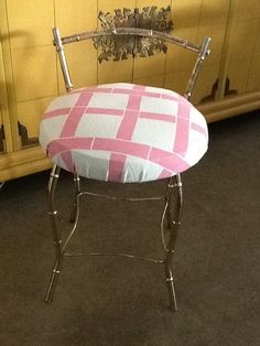 Hollywood Regency Vanity Stool Faux Bamboo