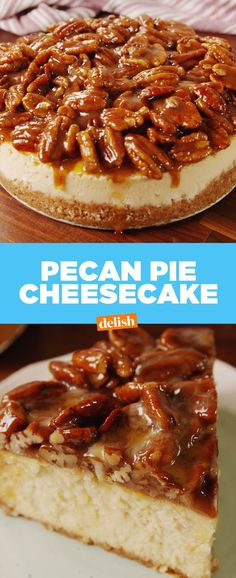 Cheesecake Pecan Pie + Cheesecake = the mother of all Thanksgiving desserts.Pecan Pie + Cheesecake = the mother of all Thanksgiving desserts. Pecan Pie Cheesecake, Cheesecake Recipes, Dessert Recipes, Dinner Recipes, Kolaci I Torte, Thanksgiving Desserts, Thanksgiving Sides, Christmas Desserts, Christmas Baking