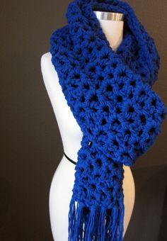 Cobalt Long Versatile Crochet Scarf with Tassels