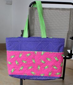Quilted tote bag in purple and pink with lime by RedNeedleQuilts, $29.00
