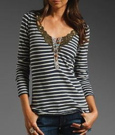 Free People, We The Free Call Back, stripe henley top...