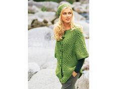Cape-Jacke mit trendiger Mütze in einem frischen Grün - neues Herbst-Modell zum Selberstricken