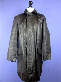 VINTAGE black REAL LEATHER TRENCH MAC COAT OVERCOAT xlarge cj23    eBay