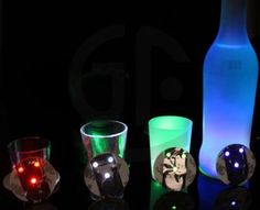 New Arrive Ultra Thin Bar Cup LED Flashing Lights Bottle Sticker Party Light Up Wine Mat for Beauty
