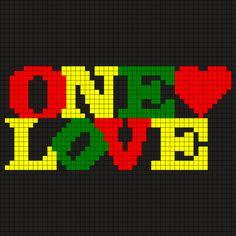 One_Love by Monaa on Kandi Patterns   Leuk voor een kussen