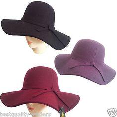 Women soft floppy Wide Brim Cloche fedora dress hat retro goth wool bowknot band
