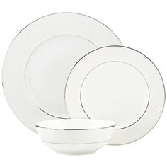 Lenox Venetian Lace 3-piece Dinnerware Place Setting featuring polyvore, home, kitchen & dining, dinnerware, white, lenox bowl, white dinner plates, white salad plates, lenox dinner plates and lace bowl