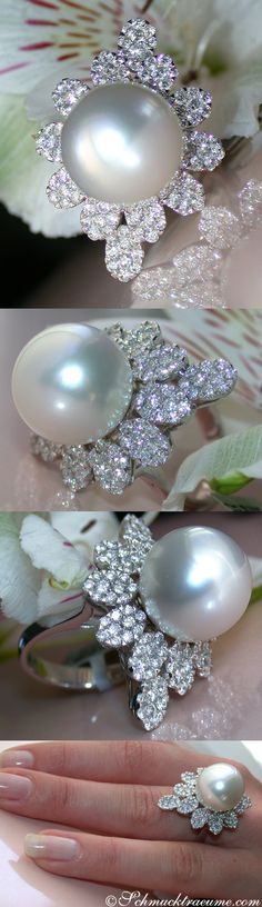 Noble South Sea Pearl (14.80mm) Diamond (2.72 ct. G-VS) Ring