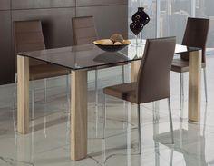 table manger moderne en verre et couleur bois lars 2 - Table A Manger Moderne