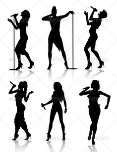 Female Singers Silhouette Set — Vector EPS #performance #singer • Available here → https://graphicriver.net/item/female-singers-silhouette-set-/1801263?ref=pxcr