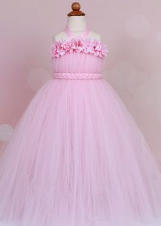 Flower Girl Tutu Dress - Light Pink - Bubble Gum Beauty - 12 Month to 2 Toddler Girl - Cutie Patootie Designz. $70.00, via Etsy.
