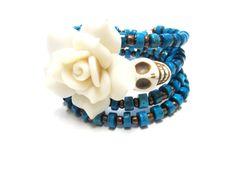 Sugar Skull Bracelet Day of the Dead Jewelry by sweetie2sweetie, $27.99