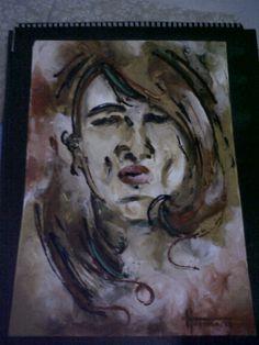 self portrait, finger painting, acrylic on papar (2)