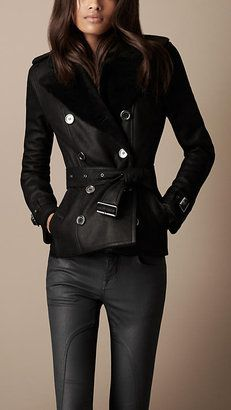 Cropped Shearling Trench Coat Burberry