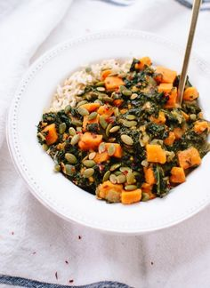 Coconut curried kale and sweet potato (or butternut) and rice - cookieandkate.com