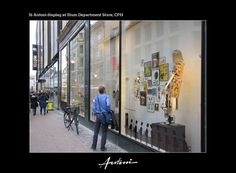 90 framed Pictures displayed in four big Windows towards The Pedestrian Street. By Ib Antoni.