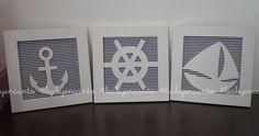 Lindos Quadros para decoração de quarto de bebe/ infantil ! Conjunto de 3 quadros no tema marinheiro ! Pode ser produzido também em outras cores de tecidos ! Cada quadro mede 21x21 R$ 120,00