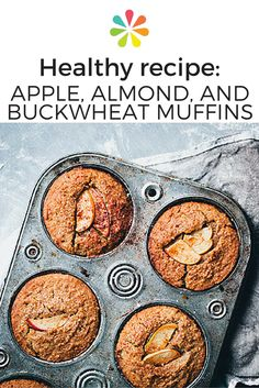 This hearty breakfast is naturally sweetened with homemade apple sauce and fresh dates, so you can enjoy a baked good without a helping of processed sugar. Ground cinnamon, cardamom, ginger, and sea salt enhance the flavor, while unsweetened plain yogurt and olive oil keep the muffins moist. #healthyrecipe #applemuffins #everydayhealth | everydayhealth.com