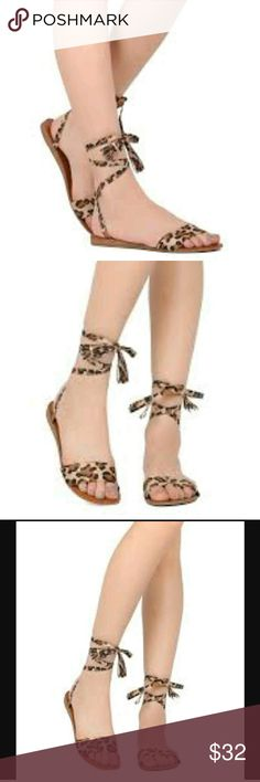 fc5d29d7a31 Breckelles Leopard Sandals NEW Women Breckelles Aloha-01 Lace up Ankle Wrap  Tasseled Gladiator Sandal