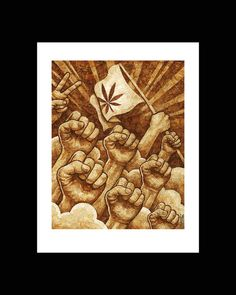 REVOLUTION 420 by Cliff Maynard. Cannabis artwork made from used marijuana joint papers.