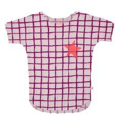 Noé & Zoë SS 16 - Girls tee in purple grid wit neon orange star http://www.noe-zoe.com/Collections/SS-16/