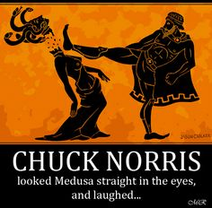 """""""In this pottery shard, we can clearly see Chuck Norris beheading Medusa with his famous round-house kick. Chuck Norris is so tough he could stare Medusa in the eye and not turn to stone. Greece Mythology, Greek And Roman Mythology, Illustrations, Illustration Art, Chuck Norris Memes, Nostalgia Art, Ancient Greek Art, Bild Tattoos, Roman Art"""