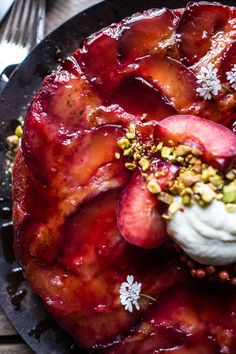 Brown Butter Plum Up-Side Down Yogurt Cake with Pistachios | halfbakedharvest.com @hbharvest