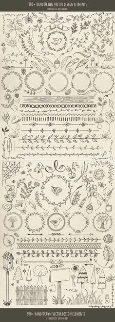 "Over 300 ""Woodland Whimsy"" Hand Drawn Vector Design Elements! Flourishes, curls,… Over 300 ""Woodland Whimsy"" Hand Drawn Vector Design Elements! Drawing Hands, Bullet Journal Inspiration, Zentangles, Zentangle Patterns, Doodle Art, Bird Doodle, Arrow Doodle, Heart Doodle, Doodle Frames"