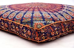 Oversized Indian Mandala Floor Pillow Square Ottoman Poufs Cover Pets Bed Throw #Handmade #Traditional
