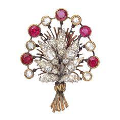 Buccellati Ruby & Diamond Flower Bouquet Pin